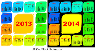 Multicolored template of a calendar Calendar 2013 on a white...