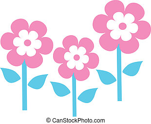 3 garden flowers - cute pink colorful spring garden flowers...