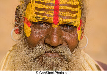 indio,  man),  (holy,  Jaisalmer,  India,  Sadhu,  Rajasthan