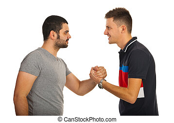 Meeting friends guys - Meeting of two friends guys giving...