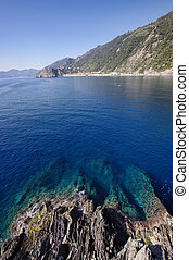 Corniglia coast and sea