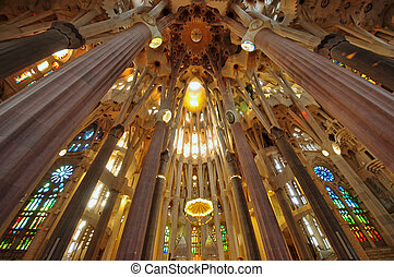 Sagrada Familia cathedral interior - Barcelona - September...