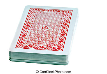playing cards - desk stack of playing cards isolated on...