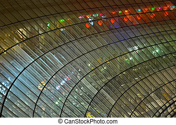 transparent glass windows heap with power illumination...