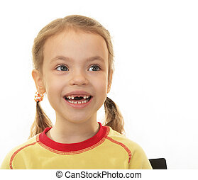 Little girl with no upper teeth
