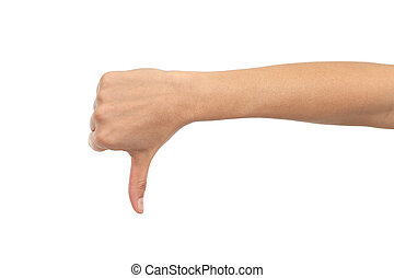 Woman hand thumb down - Woman hand with thumb down on a...