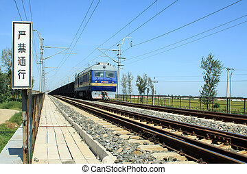 train in the railroad in China, closeup of pictures
