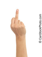 Woman hand showing middle finger on a white isolated...
