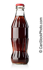 Little bottle of soda - Bottle of soda isolated on white...