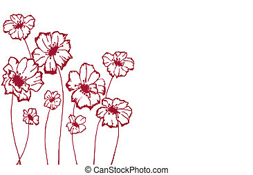 stylized flowers - stylized maroon flowers on an white...