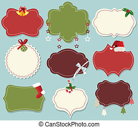 Vintage christmas label banner set