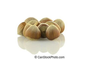 Tasty hazelnuts on a white reflective background