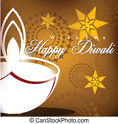 Abstract vector card design with shiny color for Diwali...