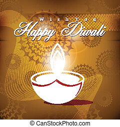Vector diwali card design with shiny brown color background.