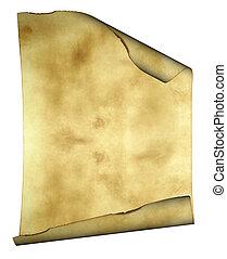 vieux, papier, fond, parchemin, frisé, brûlé, bords, espace,...
