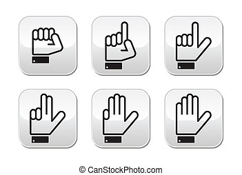 Counting hand signs buttons - Counting cartoon hands signs...