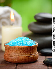 spa concept - spa composition with toning sea crystals