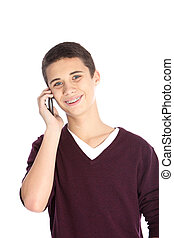 Teenager on his mobile phone - Studio portrait over white of...
