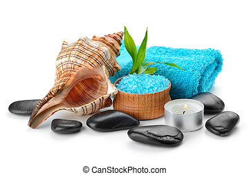 spa concept - spa composition with soap and toning sea...