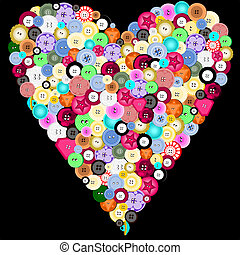 Buttons in a heart