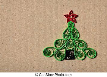 Handmade, boże narodzenie, drzewo, cięty, Poza, papier,...