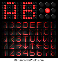 Digital alphabetic - Red digital alphabetic and numeric...
