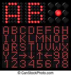 Digital alphabetic - Red digital alphabetic and numeric...