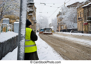 Snow-removal machine cleans - editorial (Zamarsynivska str.,...