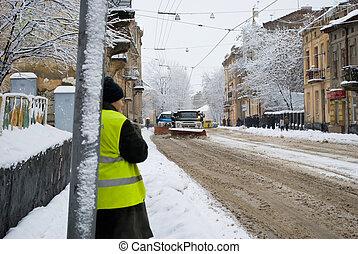 Snow-removal machine cleans - editorial (Zamarsynivska str.,...