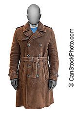 Luxury brown leather male coat isolated on white background