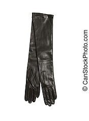 luxury black woman leather gloves isolated on white...