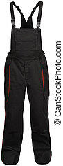black male coverall pants with red strokes isolated on white