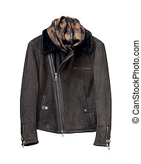 Luxury black male leather jacket isolated on white