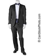 豪華, 黑色, 無尾禮服, 被隔离, 白色, 背景