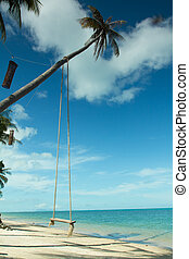 Swing hang from coconut tree over beach,Samui island...