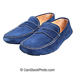 Pair of blue male suede shoes without laces isolated on...