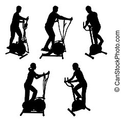 fitness people on gym bikes - silhouettes of fitness people...