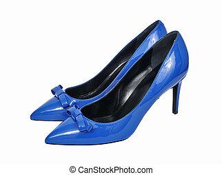 azul, alto, tacón, mujeres, zapatos, aislado, blanco,...