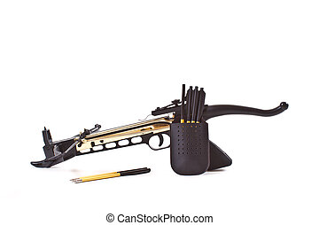 crossbow and arrows on a white background