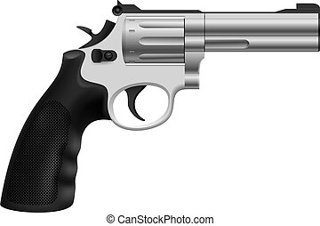 Revolver - Realistic Revolver. Illustration on white...