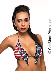 Stars and stripes - Beautiful young multiracial woman in a...
