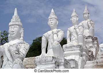 Statues - Sculptures on the staircasse in Mingun, Mandalay,...