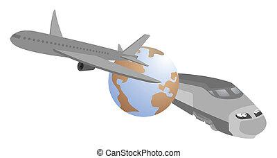 Speed travel around the world - Creative design of speed...