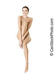 Sexy happy fit naked woman with healthy clean skin, isolated...