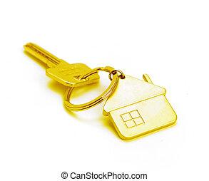 dorado, casa, llave, aislado, blanco