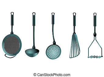 kitchen utensils isolated on the white background