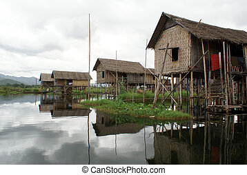 Houses on the water of Inle lake, Shan State, Myanmar...