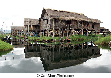 Houses on the Inle lake - Houses on the water of Inle lake,...