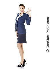 Perfect - business woman showing OK hand sign - Perfect -...