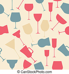 Seamless background pattern of black alcoholic glass.